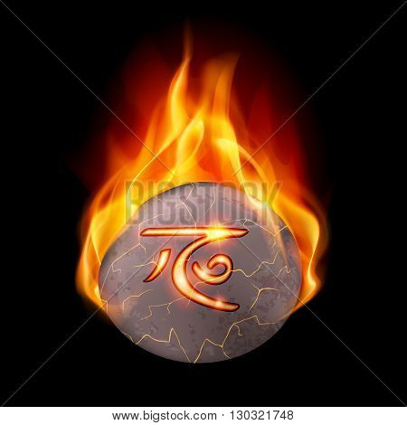 Round stone with magic rune in orange flame