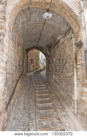 Medieval buildings in Umbria Italy close up
