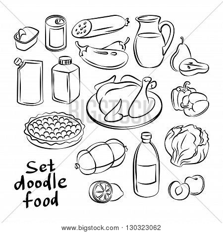 Hand drawn food objects. Freehand doodles food collection. Sketchy vector icons