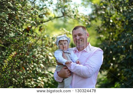 happy father with little son