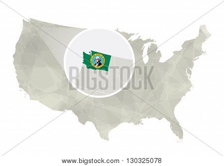 Polygonal Abstract Usa Map With Magnified Washington State.