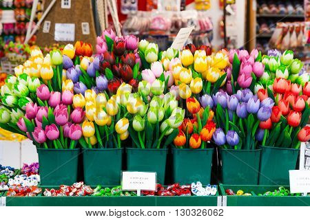 Flower multi-colored tulip souvenirs for sale in Amsterdam, Netherlands