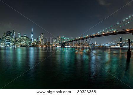 Manhattan Night View From Brooklyn