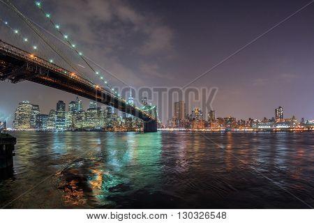 new york city manhattan night view from brooklyn