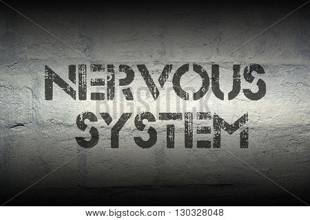 nervous system stencil print on the grunge white brick wall