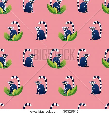 Vector seamless pattern with cartoon lemurs. Pink blue green colors