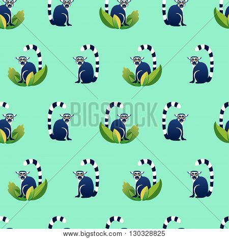 Vector seamless pattern with cartoon lemurs. Blue and green colors.