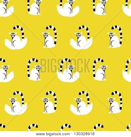 Vector seamless pattern with cartoon lemurs. Yellow and white colors.