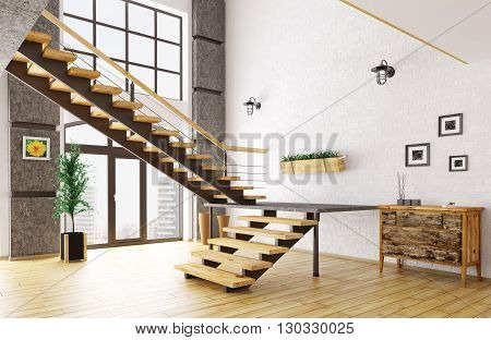 Hall With Staircase Interior 3D Rendering