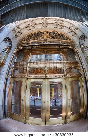 New York - Usa - 13 June 2015 United States Realty Building Door