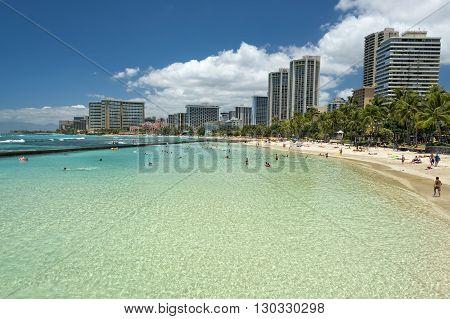 Waikiki Beach Panorama With Pool Lagoon