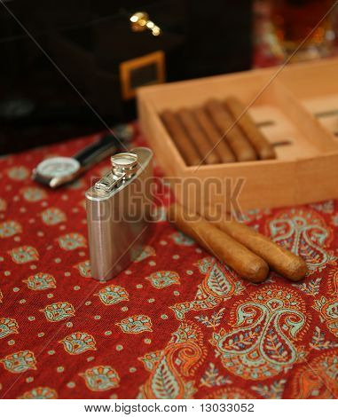 Cigars, humidor,  hip-flask, wrist watch