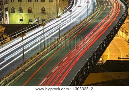 Genoa Flyover Famous Overpass At Night