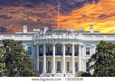 Washington White House On Sunny Day