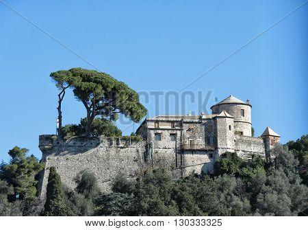 portofino brown castle detail view panorama landscape