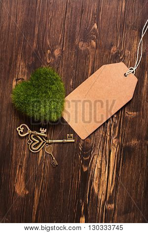 Green moss heart, keys and paper tag over wooden background. Toned image