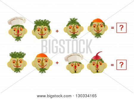 Cartoon faces of vegetables and fruits as an illustration of mathematical education for children of preschool age.