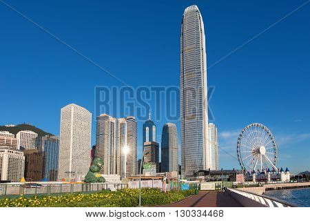 Hong Kong, China: 2 Aug 2015 Hongkong Cityscape, Hong Kong's tallest buildings and famous landmarks ,completed in 2003, Hong Kong, China