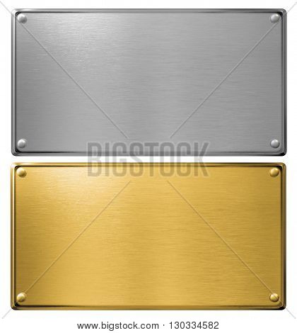 silver and gold metal plates isolated 3d illustration