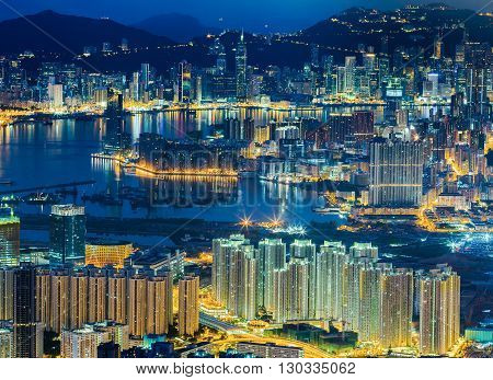 Hong Kong cityscape at night view from aerial