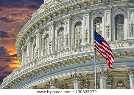 Washington Dc Capitol Detail On Golden Sunset Background