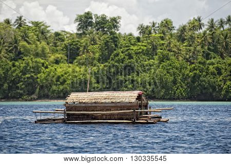 Fishing Platform In The Middle Of The Sea In Indonesia