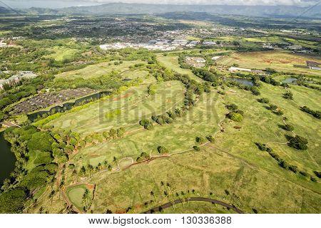 Kauai Golf Course In Hawaii Aerial View