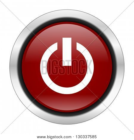 power icon, red round button isolated on white background, web design illustration