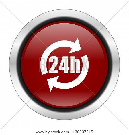 24h icon, red round button isolated on white background, web design illustration