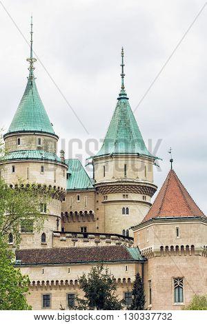 Detail photo of Bojnice castle Slovak republic. Cultural heritage. Travel destination. Architectural theme. Vertical composition.