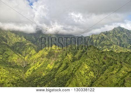 Kauai Hawaii Island Mountains Aerial View