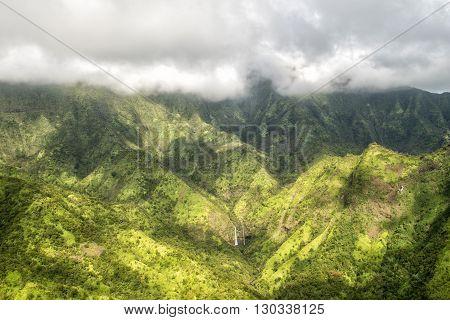 Kauai Green Mountain Aerial View Jurassic Park Movie Set