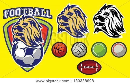 stylish template for sports logo with a lion head and ball