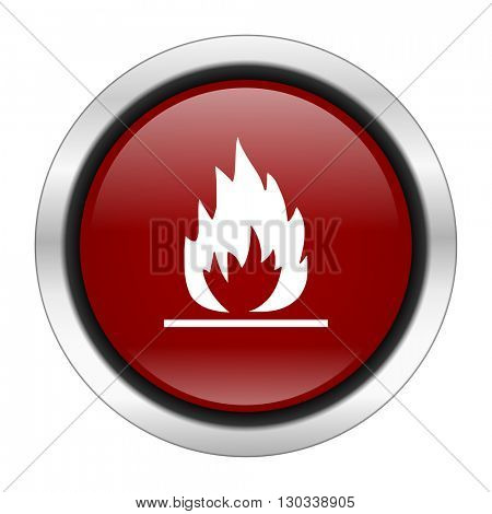 flame icon, red round button isolated on white background, web design illustration