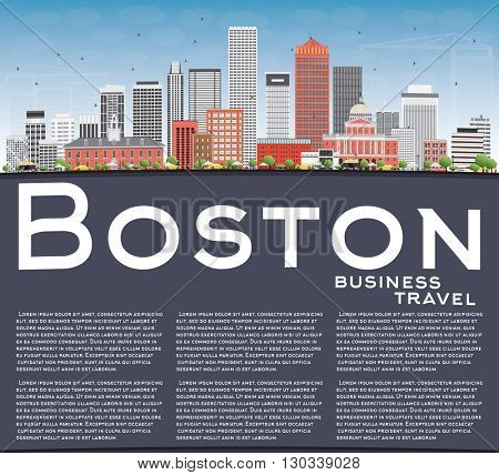 Boston Skyline with Buildings, Blue Sky and Copy Space. Business Travel and Tourism Concept with Modern Buildings. Image for Presentation Banner Placard and Web Site.