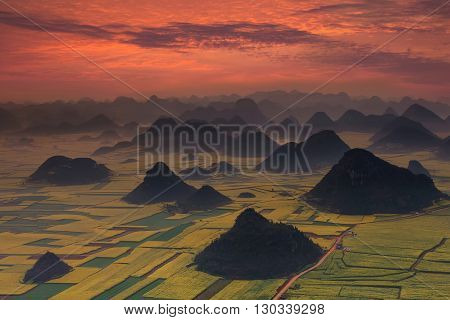 Landscape of Golden rooster hill in Luoping,Yunnan,China.