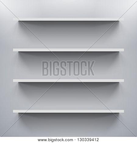 Four gorizontal bookshelves on the gray wall