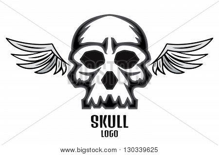 Skull logo wings. Stock vector. Vector illustration.
