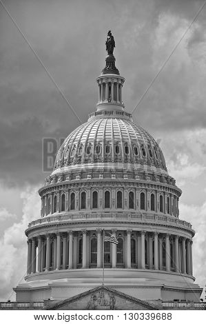 Washington Dc Capitol Detail On Cloudy Sky In Black And White