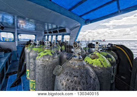 Tank On Scuba Diving Boat