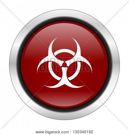 biohazard icon, red round button isolated on white background, web design illustration