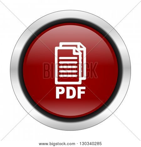 pdf icon, red round button isolated on white background, web design illustration,