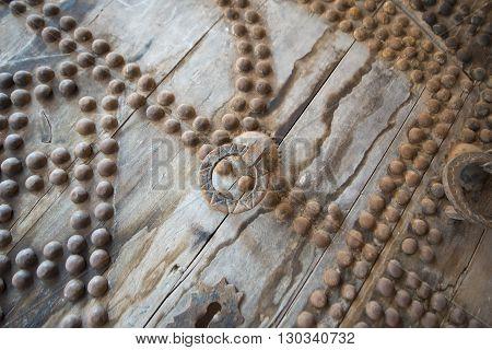 Maroc Telouet kasbah wooden ancient door detail