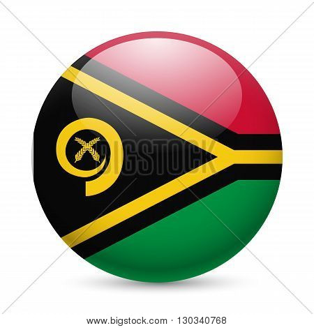 Flag of Vanuatu as round glossy icon. Button with flag design