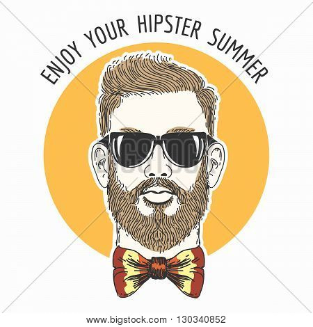 Hipster face with hair glasses mustache and colorful bowtie against sun circle and wording Enjoy Your Hipster Summer.