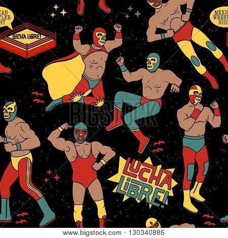 Lucha Libre Seamless Pattern. Mexican Wrestler Night.