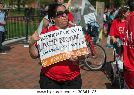 WASHINGTON D.C. USA - MAY 2 2014 - Immigrant are protesting against president Obama for house outside the white house