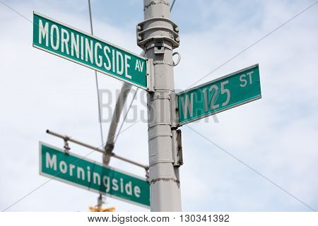 New York Street Sign: Morningside Dr And 125