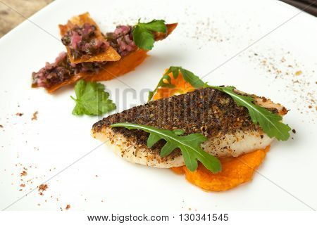 Pike-perch Fillet With Vegetable Sauce And Mexican Salsa.