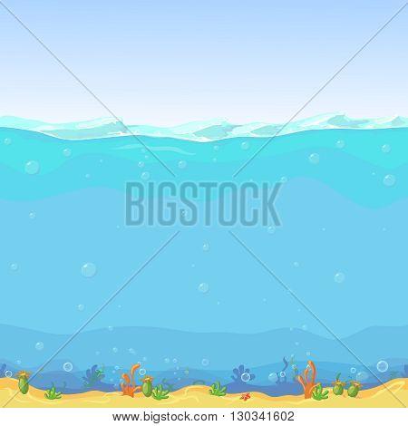 Underwater seamless landscape, cartoon background for game design. Sea water, nature ocean wave illustration